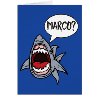 Shark Playing Marco Polo Funny Card