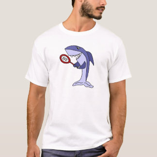 Shark Playing Tennis Cartoon T-Shirt
