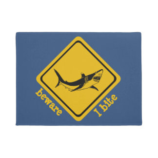 shark road sign - doormat