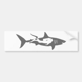 shark scuba diver diving hai tauchen bumper sticker
