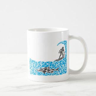 shark surfer classic white coffee mug
