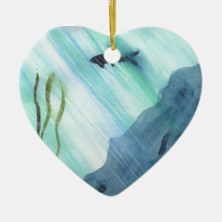 Shark Swimming Ceramic Heart Ornament