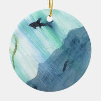 Shark Swimming Round Ceramic Ornament