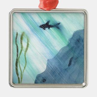 Shark Swimming Silver-Colored Square Ornament