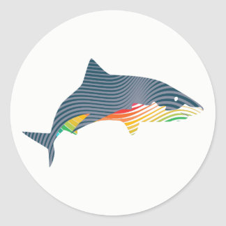 Shark Swoosh Illustration Classic Round Sticker