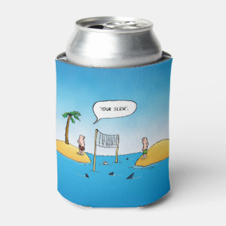 Shark Volleyball Funny Cartoon Can Cooler