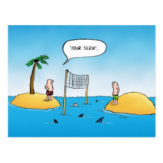 Shark Volleyball Funny Cartoon Postcard