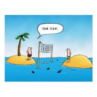 Shark Volleyball Funny Cartoon Postcards