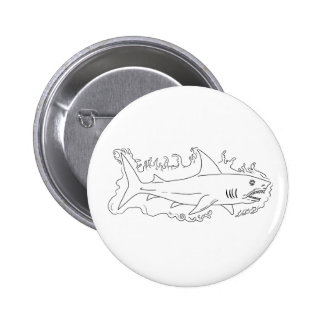 Shark Water Side Drawing 2 Inch Round Button