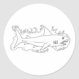 Shark Water Side Drawing Classic Round Sticker