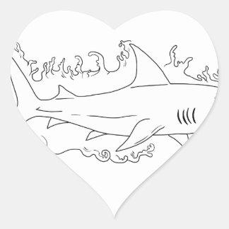 Shark Water Side Drawing Heart Sticker