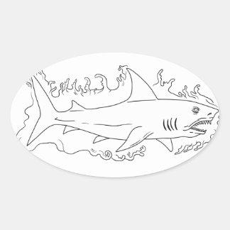 Shark Water Side Drawing Oval Sticker