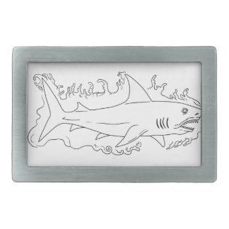 Shark Water Side Drawing Rectangular Belt Buckles