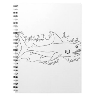 Shark Water Side Drawing Spiral Notebook