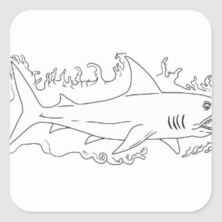 Shark Water Side Drawing Square Sticker