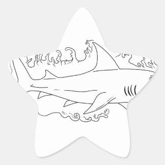 Shark Water Side Drawing Star Sticker