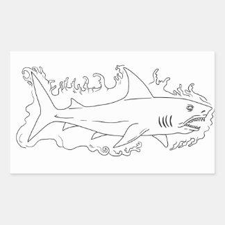 Shark Water Side Drawing Sticker