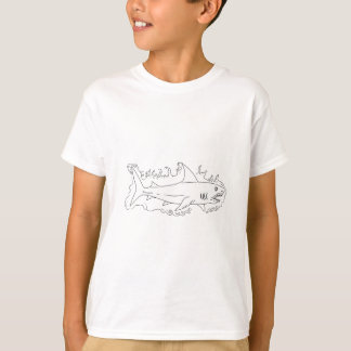 Shark Water Side Drawing T-Shirt