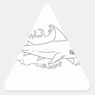 Shark Water Side Drawing Triangle Sticker