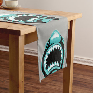 Shark Watercolor Green Illustration Short Table Runner