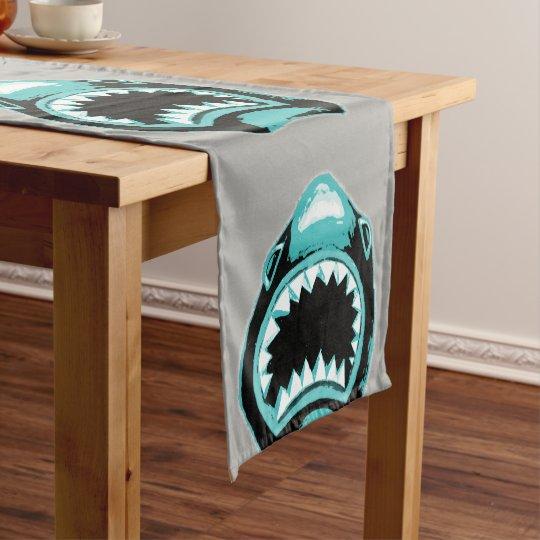 Shark Watercolor Green Illustration Short Table Runner