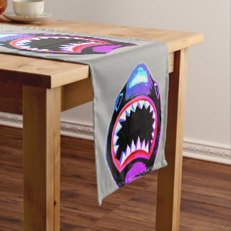 Shark Watercolor Pink and Purple Illustration Short Table Runner