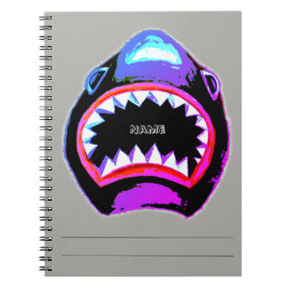 Shark Watercolor Pink and Purple Illustration Spiral Notebook