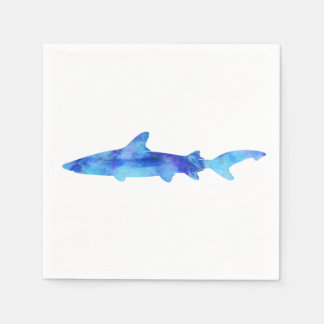 Shark Watercolor Silhouette Dye Teal Blue Aqua Disposable Napkins