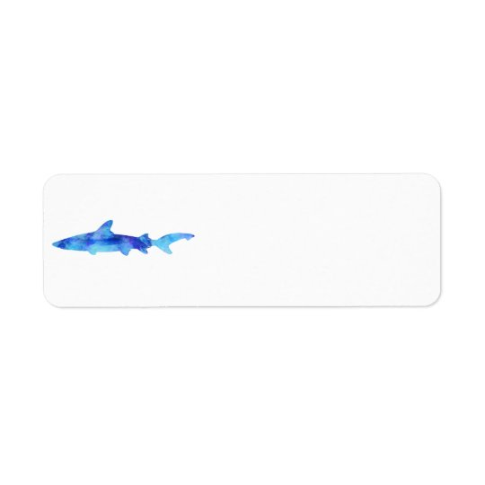 Shark Watercolor Silhouette Dye Teal Blue Aqua Return Address Label