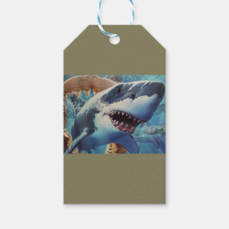 shark wrapping pack of gift tags