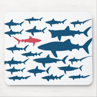 Sharks against the tide mouse pad. mouse pad
