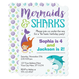 Sharks and Mermaids Birthday Invitation
