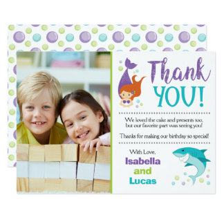 Sharks and Mermaids Birthday Thank You Card