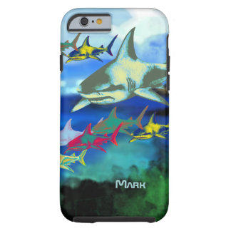 sharks digital illustration tough iPhone 6 case