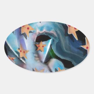 Sharks-Hammerhead Oval Sticker