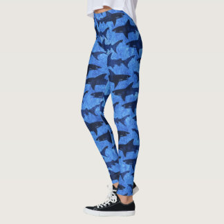 Sharks in the Deep Blue Sea Scuba Diver Girl Leggings