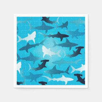 sharks! paper napkins