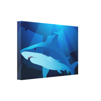 Sharks swimming canvas print