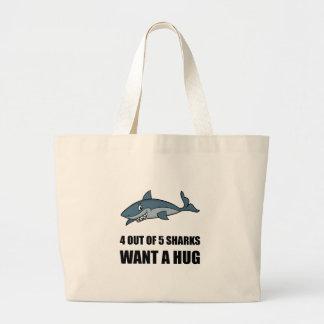 Sharks Wants Hug Large Tote Bag