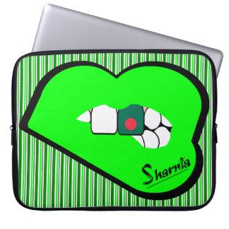 "Sharnia's Lips Bangladesh Laptop Sleeve 15"" Grn LP"