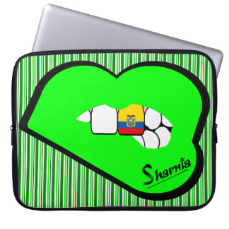 Sharnia's Lips Ecuador Laptop Sleeve (Grn Lips)