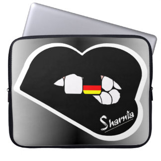 "Sharnia's Lips Germany Laptop Sleeve 15"" Blk Lips"