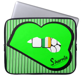 Sharnia's Lips Ireland Laptop Sleeve (Grn Lips)
