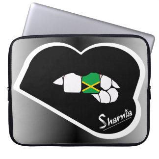 "Sharnia's Lips Jamaica Laptop Sleeve 15"" Blk Lips"