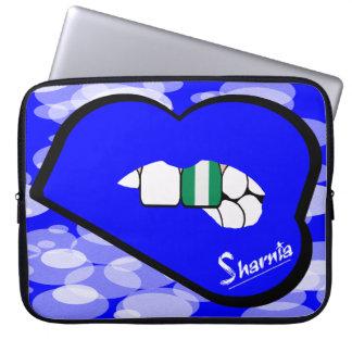 "Sharnia's Lips Nigeria Laptop Sleeve 15"" Blue Lips"