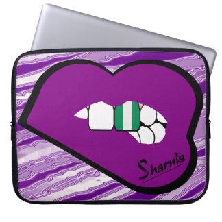 Sharnia's Lips Nigeria Laptop Sleeve (Purple Lips)