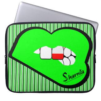 Sharnia's Lips Poland Laptop Sleeve (Grn Lips)