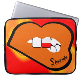 Sharnia's Lips Poland Laptop Sleeve (Orange Lips)