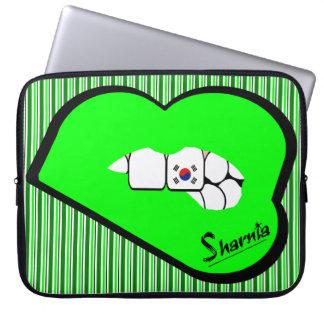 Sharnia's Lips South Korea Laptop Sleeve (Grn Lips