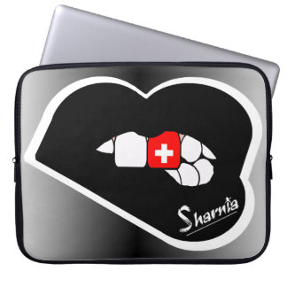"Sharnia's Lips Switzerland Laptop Sleeve 15"" BL"